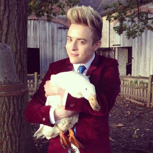 John having a ducking good time in Stratford-upon-Avon recording Jedward's Big Adventure.