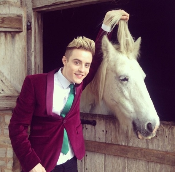 Edward horsing around on the set of Jedward's Big Adventure in Stratford-upon-Avon.